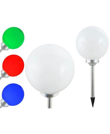 LAMPA SOLARNA MLECZNA BIAŁA KULA 30CM 4LED RGB P-R30